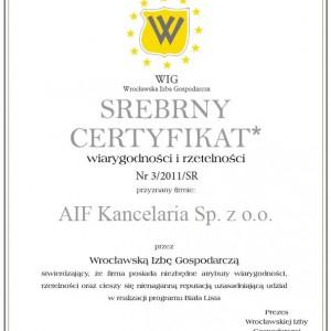 Srebrny Certyfikat za wiarygodność